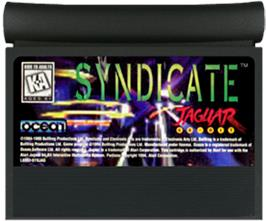 Cartridge artwork for Syndicate on the Atari Jaguar.