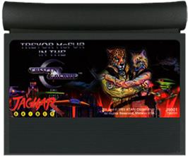 Cartridge artwork for Trevor McFur In The Crescent Galaxy on the Atari Jaguar.
