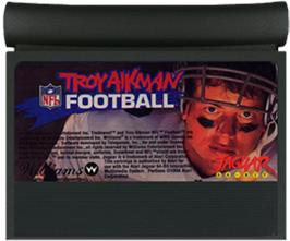 Cartridge artwork for Troy Aikman NFL Football on the Atari Jaguar.