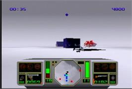 In game image of AirCars on the Atari Jaguar.