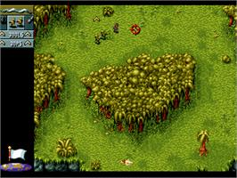 In game image of Cannon Fodder on the Atari Jaguar.