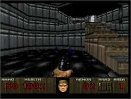 In game image of Doom on the Atari Jaguar.