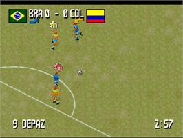 In game image of Fever Pitch Soccer on the Atari Jaguar.