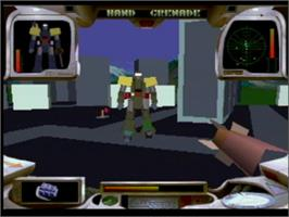 In game image of Iron Soldier on the Atari Jaguar.