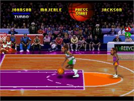 In game image of NBA Jam TE on the Atari Jaguar.