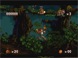 In game image of Pitfall: The Mayan Adventure on the Atari Jaguar.