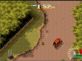 In game image of Power Drive Rally on the Atari Jaguar.