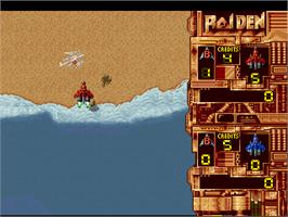 In game image of Raiden on the Atari Jaguar.