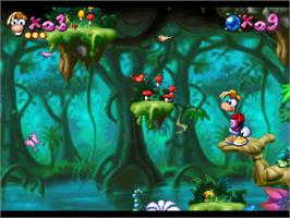 In game image of Rayman on the Atari Jaguar.