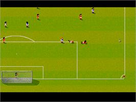 In game image of Sensible Soccer: International Edition on the Atari Jaguar.