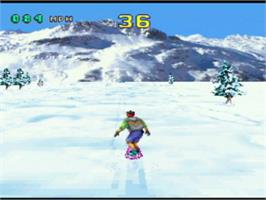 In game image of Val d'Isère Skiing and Snowboarding on the Atari Jaguar.