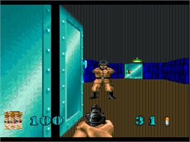 In game image of Wolfenstein 3D on the Atari Jaguar.