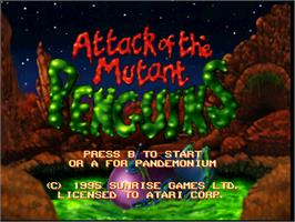 Title screen of Attack of the Mutant Penguins on the Atari Jaguar.