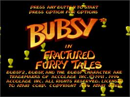 Title screen of Bubsy in Fractured Furry Tales on the Atari Jaguar.