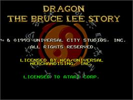 Title screen of Dragon: The Bruce Lee Story on the Atari Jaguar.