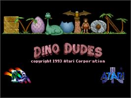 Title screen of Evolution: Dino Dudes on the Atari Jaguar.