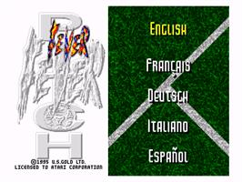 Title screen of Fever Pitch Soccer on the Atari Jaguar.