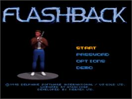 Title screen of Flashback on the Atari Jaguar.