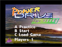 Title screen of Power Drive Rally on the Atari Jaguar.