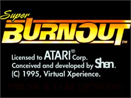 Title screen of Super Burnout on the Atari Jaguar.