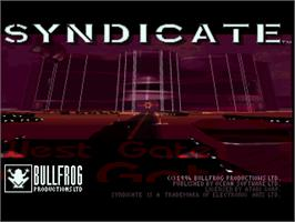 Title screen of Syndicate on the Atari Jaguar.