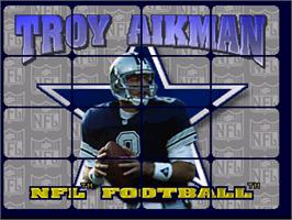 Title screen of Troy Aikman NFL Football on the Atari Jaguar.