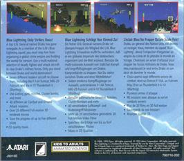 Box back cover for Blue Lightning on the Atari Jaguar CD.