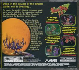 Box back cover for BrainDead 13 on the Atari Jaguar CD.
