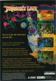 Box back cover for Dragon's Lair on the Atari Jaguar CD.