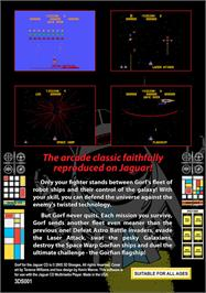 Box back cover for GORF Classic on the Atari Jaguar CD.