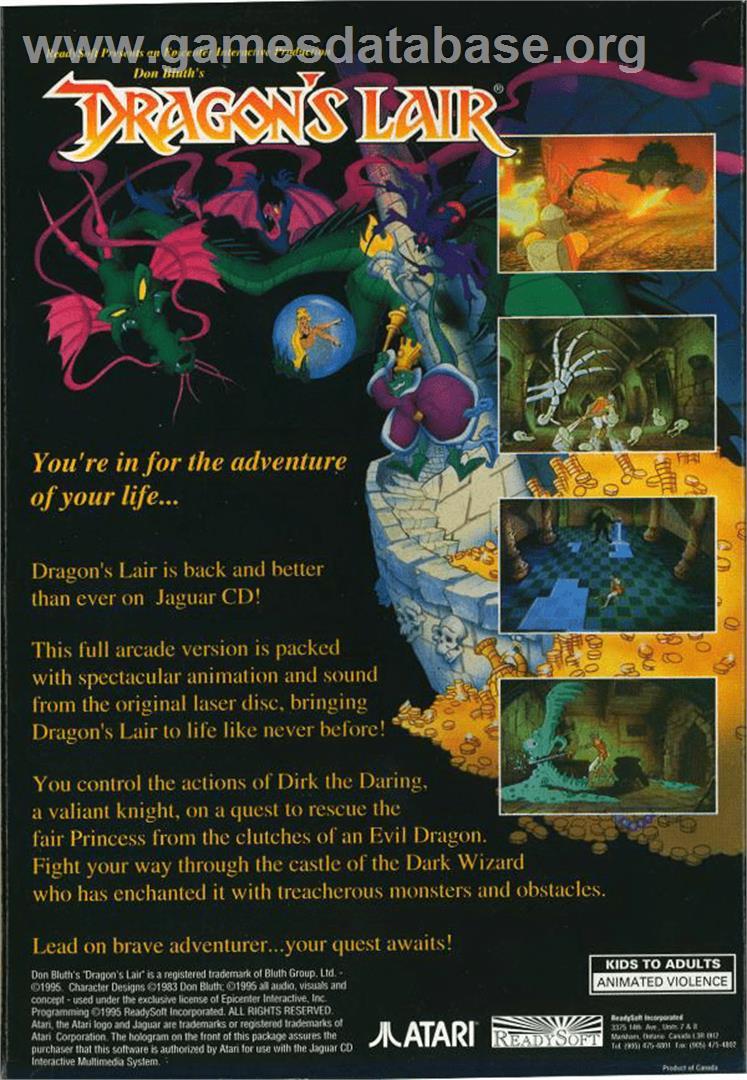 Box back cover for Dragon's Lair on the Atari Jaguar CD.