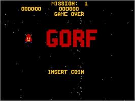 Title screen of GORF Classic on the Atari Jaguar CD.
