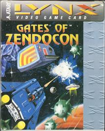 Box cover for Gates of Zendocon on the Atari Lynx.