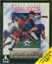 Box cover for World Class Soccer on the Atari Lynx.
