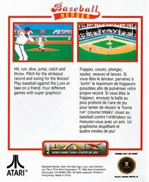 Box back cover for Baseball Heroes on the Atari Lynx.