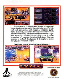 Box back cover for BattleWheels on the Atari Lynx.