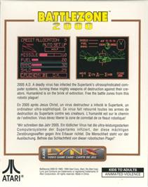 Box back cover for Battlezone 2000 on the Atari Lynx.
