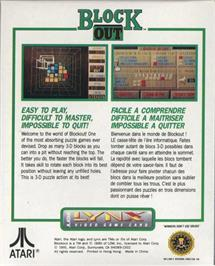 Box back cover for Blockout on the Atari Lynx.
