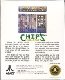Box back cover for Chip's Challenge on the Atari Lynx.