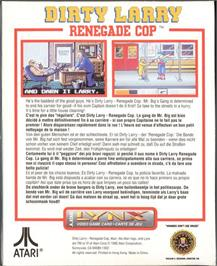 Box back cover for Dirty Larry: Renegade Cop on the Atari Lynx.