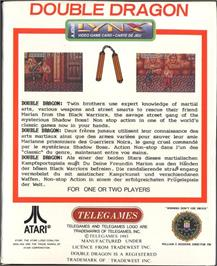 Box back cover for Double Dragon on the Atari Lynx.