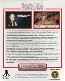 Box back cover for Dracula the Undead on the Atari Lynx.