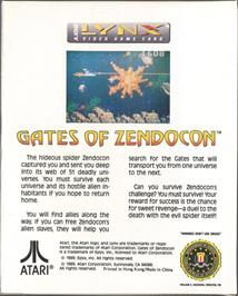 Box back cover for Gates of Zendocon on the Atari Lynx.