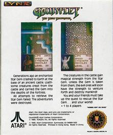Box back cover for Gauntlet: The Third Encounter on the Atari Lynx.