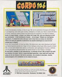 Box back cover for Gordo 106: The Mutated Lab Monkey on the Atari Lynx.