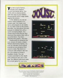 Box back cover for Joust on the Atari Lynx.