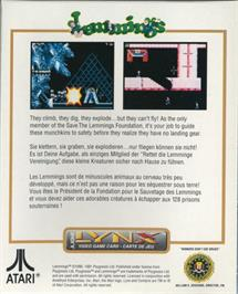 Box back cover for Lemmings on the Atari Lynx.