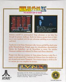 Box back cover for Ninja Gaiden on the Atari Lynx.