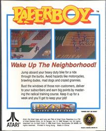 Box back cover for Paperboy on the Atari Lynx.