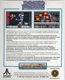 Box back cover for Power Factor on the Atari Lynx.